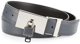 Buscemi Padlock-Buckle Leather Belt, Dark Gray