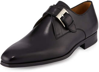 Magnanni Buckle-Strap Leather Loafer, Black