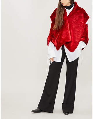Chalayan Open shoulder faux-fur jacket