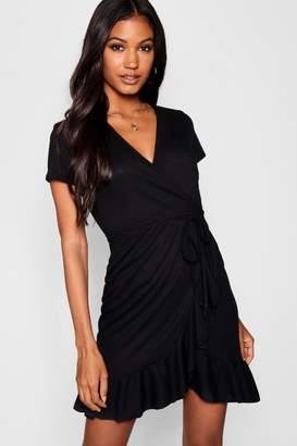 boohoo Rib Knit Wrap Over Tea Dress