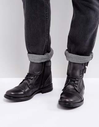Steve Madden Galvaniz Leather Boots In Black