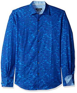 Bugatchi Men's Long Sleeve Slim Fit Point Collar Print Cotton Shirt