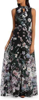 Love Affair Print Ruffle Halter Maxi Dress