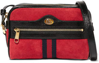 Gucci Ophidia Patent Leather-trimmed Suede Shoulder Bag - Red