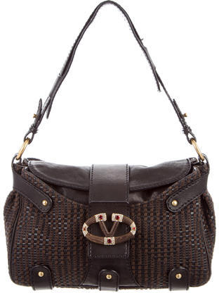 Valentino Valentino Woven Leather Catch Bag