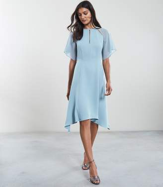 Reiss TAVIA ASYMMETRIC MIDI DRESS Blue