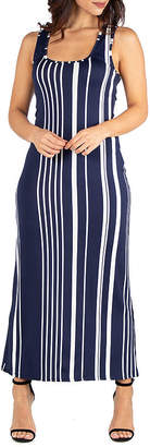 24/7 Comfort Apparel 24/7 Comfort Dresses Vertical Stripes Racerback Maxi Dress
