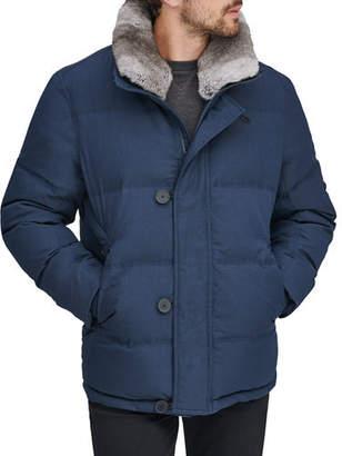 Andrew Marc Men's Bryant Mid-Length Jacket w/ Removable Fur Trim