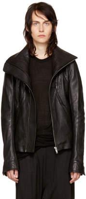 Rick Owens Black Leather Geo Jacket