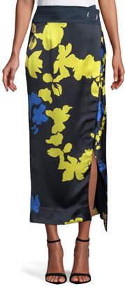 Tanya Taylor Samra Floral Satin High-Waist Skirt
