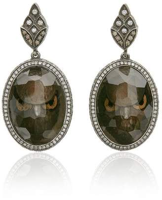 Sevan Biçakci owl face intaglio moonstone diamond drop earrings