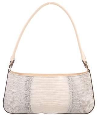 Salvatore Ferragamo Leather-Trimmed Lizard Bag