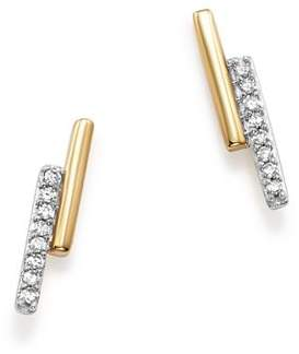 Adina 14K Yellow Gold Pavé Diamond Crossover Bar Stud Earrings