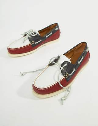 Polo Ralph Lauren Merton Leather Boat Shoes In Red/White/Navy