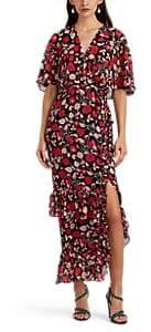 Saloni Women's Rose Floral Silk Midi-Dress - Black
