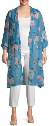 Estelle Plus Floral-Print Open-Front Kimono
