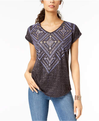Style&Co. Style & Co Geo-Inspired Metallic Graphic T-Shirt, Created for Macy's