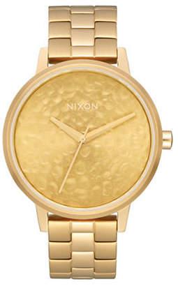 Nixon Analog Kensington Hammered Gold Stainless Steel Bracelet Watch