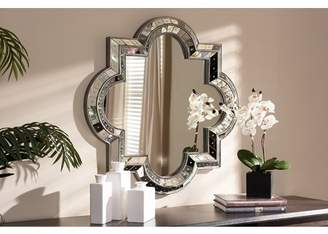 Baxton Studio Catia Art Deco Antique Silver Finished Quatrefoil Accent Wall Mirror