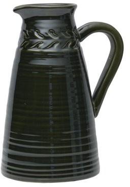 Element 12-Inch Green Braid Ribbed Stoneware Jug Vase