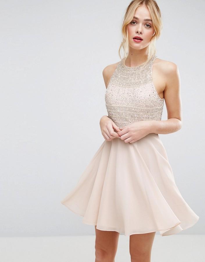 AsosASOS Crop Top Embellished Mini Skater Dress