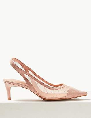 Marks and Spencer Spot Mesh Kitten Heel Slingback Court Shoes