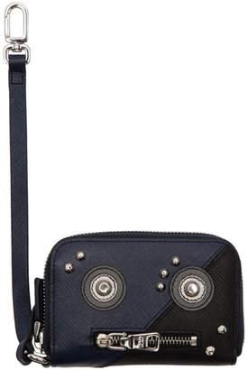 Prada Black Saffiano Robot Card Wallet