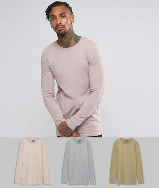 Asos DESIGN 3 pack muscle fit longline long sleeve t-shirt SAVE