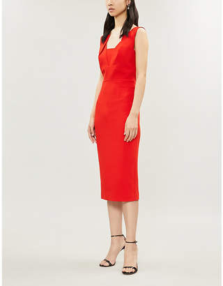 Roland Mouret Ladies Poppy Red Asymmetric Printed Coleby Fitted Crepe Dress