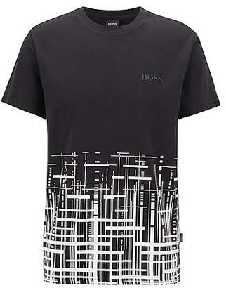 HUGO BOSS Slim-fit beach T-shirt in cotton with UPF +50