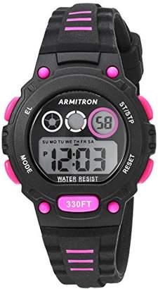 Armitron Sport Women's 45/7106PBK Magenta Accented Digital Chronograph Black Silicone Strap Watch