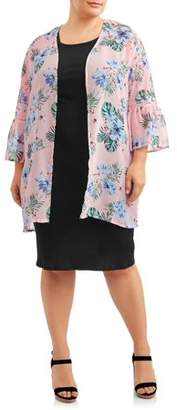 Moral Fiber Women's Plus Size Open Front Flutter Sleeve Kimono with Crochet Trim