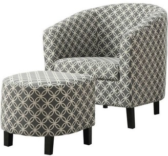 "Monarch Specialties Monarch Accent Chair 2Pcs Set / Grey "" Circular "" Fabric"
