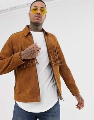 Asos Design DESIGN suede zip through jacket with tassels in tan