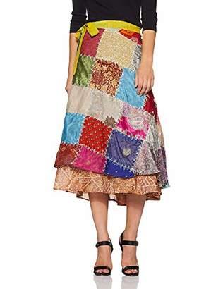 Wild Hazel Women's Viscose Assorted Pach Work Rapron Skirt