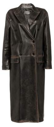 Prada Double-Breasted Leather Coat