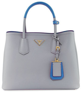 Prada Saffiano Cuir Medium Bicolor Double Tote Bag $2,780 thestylecure.com