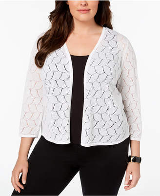 Charter Club Plus Size Patterned-Knit Cardigan