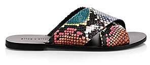 Alice + Olivia Women's Harrieta Rainbow Snake Embossed Slides Sandals