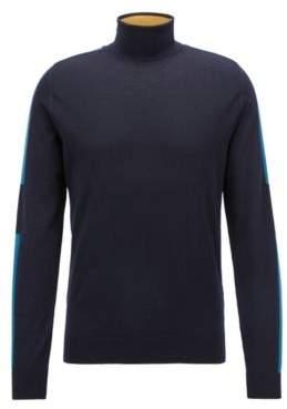 BOSS Hugo Turtleneck sweater in Italian merino wool color-blocking L Open Blue