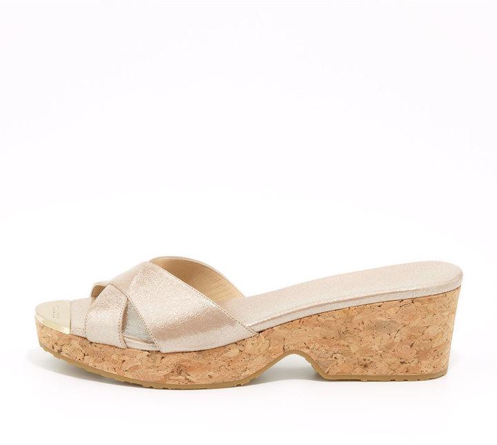 Jimmy Choo Panna Metallic Crisscross Slide Sandal