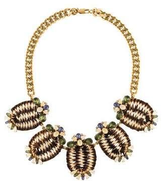 Tory Burch Formosa Raffia & Crystal Statement Necklace