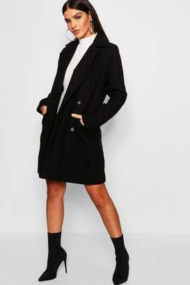 boohoo Military Button Through Wool Look Coat