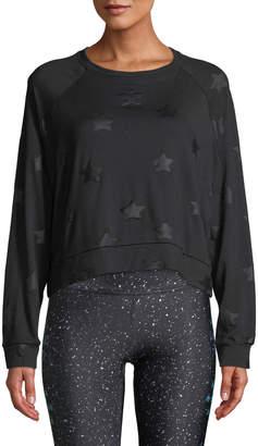 Terez Star-Print Foil Cropped Crewneck Sweatshirt