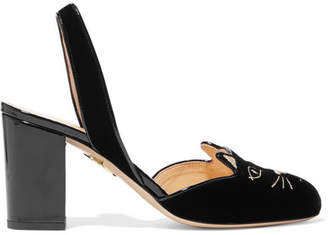 Charlotte Olympia Kitty Embroidered Patent-leather Trimmed Velvet Slingback Pumps - Black