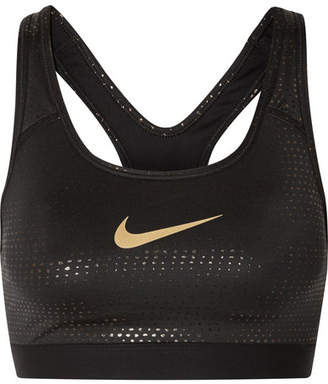 Nike Classic Swoosh Metallic Dri-fit Stretch Sports Bra - Black
