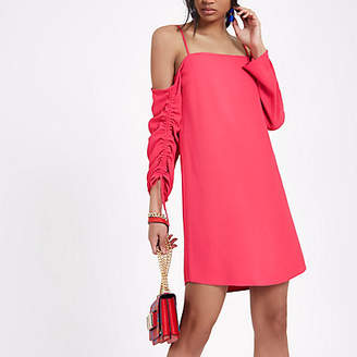 River Island Womens Bright Pink cold shoulder swing dress