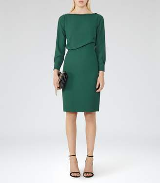 Reiss Simone - Long-sleeved Dress in Pine Green