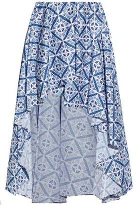 Caroline Constas Asymmetric Wrap-Effect Printed Cotton-Blend Mini Skirt