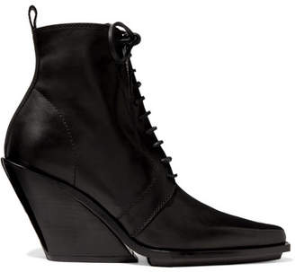 Ann Demeulemeester Lace-up Leather Wedge Ankle Boots - Black